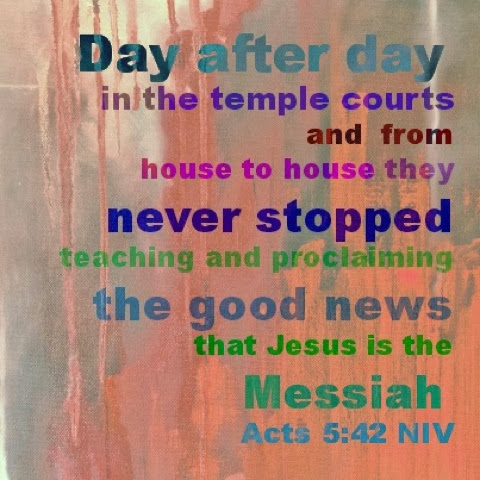 Day after day in the temple courts and from house to house they never stopped teaching and proclaiming the good news that Jesus is the Messiah. Acts 5:42 NIV